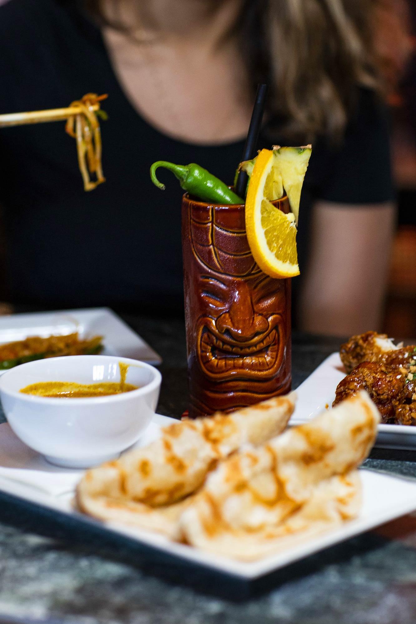 Roti and Tiki cocktails